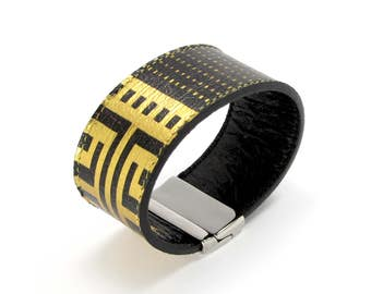 Leather Bracelet also, with contactless payment chip - ATHENA