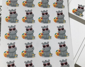 20 Hippo Stickers, Fits Erin Condren Planner & Other Planners, Summer Stickers,Beach Stickers, Stickers, Pool Stickers