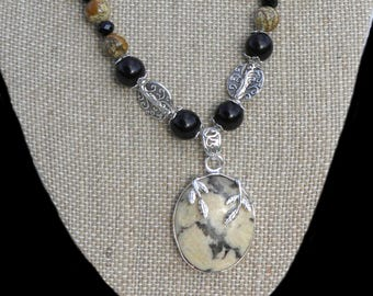 Picture Jasper Pendant Beaded Necklace w/ Silver-Plate Bezel, Czech Rhinestones & Genuine Black Onyx Gemstones, Earring Set, Tibetan Silver