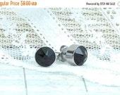 Black Crystal Studs Black Stud Earrings Large Crystal Studs Crystal Stud Earrings Surgical Steel Black Studs