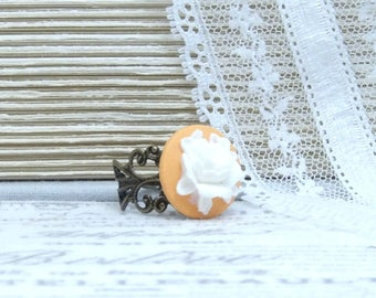 Orange And White Ring Rose Cameo Ring White Rose Ring Adjustable Ring Antiqued Brass Ring