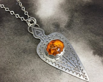 Freyja sterling silver etched spear pendant with golden amber heart