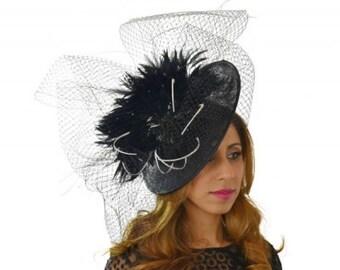 Large Crazy Black Cream Hat Fascinator Ascot Kentucky Derby Proms **SAMPLE SALE**