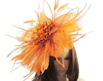 Jenny Orange Fascinator Hat for Weddings, Kentucky Derby With Headband (20 colours)