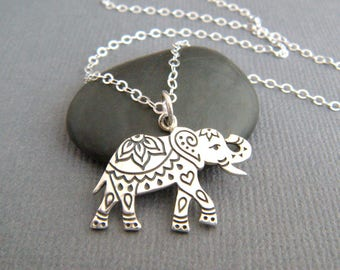 sterling silver etched Indian elephant necklace small boho pendant bohemian animal charm Hindu rustic jewelry unique engraved gift for her
