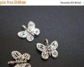 WINTER GEM SALE Antique Silver Plated Monarch Butterfly Charm Pendants - 14mm - 10 pcs