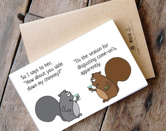 Printable Funny Squirrel Christmas Card - slide down the chimney