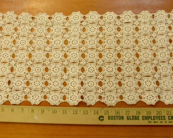 """Vintage natural color doily 28"""" long by 12"""" wide"""