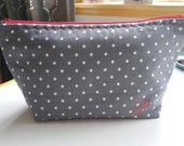 Polka Dot Zipper Pouch, Monogrammed Zipper Pouch, Small White Polka Dots Cosmetic Bag, Toiletry Storage, Cosmetic Storage, Gift for Her