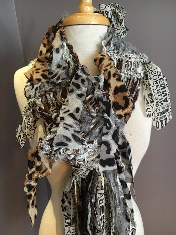 New! Knit Scarf with abstract ribbon, Traveling Cheetah, Knit Chocolate White Grey novelty fiber art scarf for women, tribal, boho chic scar
