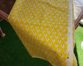Vintage Laura Ashley Fabric Remnant, Bright Yellow and Blue Pattern from 1983, English Country Cottage