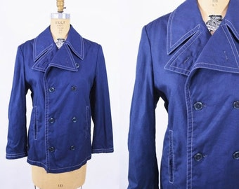 WINTER SALE / 1970s jacket vintage 70s navy blue trench Europe Craft pea coat S/M