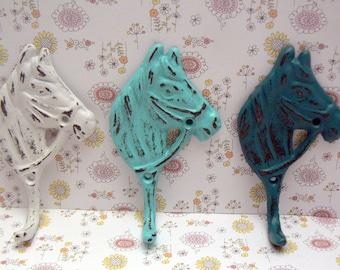 Horse Head Cast Iron Hooks Shabby Chic White Beach Blue Teal Set 3 Wall Home Decor