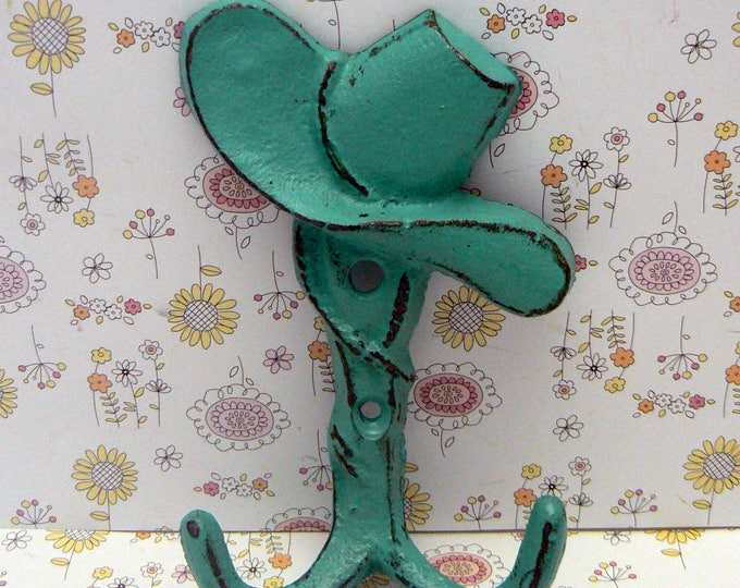Cowboy Hat Cast Iron Hook Turquoise Shabby Chic Home Decor