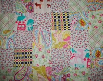 Patchwork Baby Quilt ~ Baby Girl Quilt ~ Play Mat ~ Colorful Mod Baby Quilt ~ Patchwork Baby Blanket ~ Baby Shower Gift