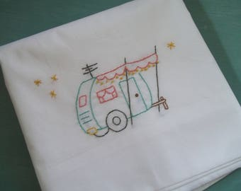 Vintage Trailer Embroidered Pillowcase ~ Canned Ham Travel Trailer
