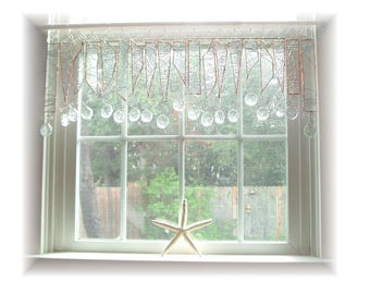 Clearly Pretty NUMBER TWO Textured Stained Glass Window Treatment Kitchen Valance Curtain
