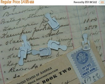 ON SALE 6 Antique Engraved Enameled Cooks Copyright 1922 Metal Tag File Clips