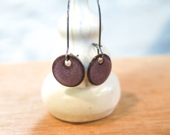 Glass Enamel Purple Mauve Tone Earrings