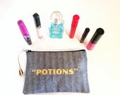 Makeup Bag in Railroad Stripe with Potions Graphic, Makeup Accessories, Makeup Holder, Cosmetics Bag, Beauty Accessories
