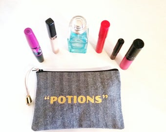 Makeup Bag in Black & White with Potions Graphic, Makeup Accessories, Makeup Holder, Cosmetics Bag, Beauty Accessories