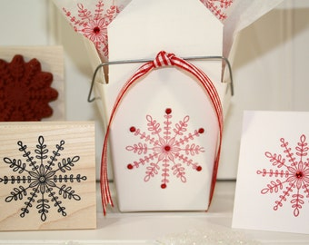 STITCHED  SNOWFLAKE Rubber Stamp~Christmas Holiday Winter Crafts Card Making~Wood Mounted Rubber Stamp (29-02)