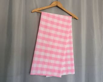 Pink Gingham Tablecloth Vintage Pastel Pink White