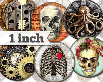 Steampunk - 15 Images - 1 Inch  - Printable Digital Collage - Jewelry, Stickers, Bottle Caps, Magnets - INSTANT DOWNLOAD