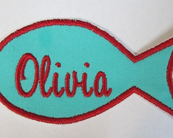 Fish Name Tags - Cats Name Tags, Name Tags, Fish Symbol for Name Tags, Applique, Patch, Patches for Children, Iron On or Sew On