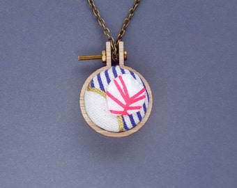 Mini mini embroidery hoop necklace, version one: abstract sea shore pendant necklace or brooch