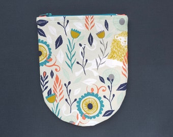 Lions and flowers and mod, OH MY! zipper clutch bag pouch // Asymmetrical half moon // cosmetics, makeup, travel, evening