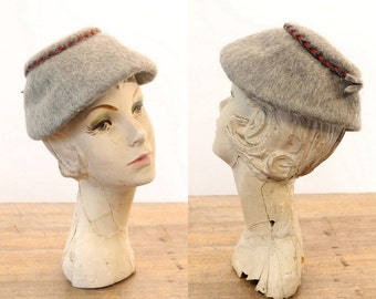 40s Hat Mohair / 1950s Vintage Hat Braided Trim / Heathered Gray Fedora
