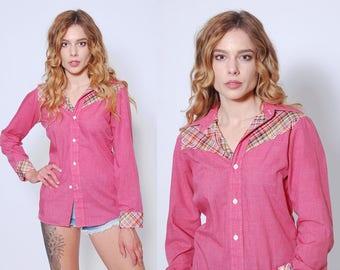 Vintage 70s PLAID Western Shirt Button Down Shirt Mauve Cowboy Shirt 70s Blouse
