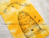 LARGER size Original Pen Ink on Fabric Illustration Quilt Label by Michelle Palmer Honey Bumble Bee Bombus Sparrow Bird Skep Hive Moving Day