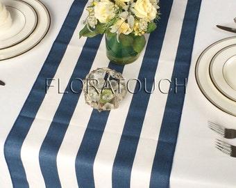 White and Navy Stripe Table Runner Wedding Table Runner with navy stripes on the borders - READY TO SHIP!