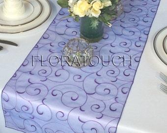 Bluish Purple Swirl Organza Table Runner