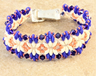 Blue White Coral Beadwork Bracelet Duo Bliss Pattern with Silver Plated Magnetic Fold Over Clasp