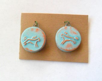 Distressed Turquoise Glazed Terra Cotta Fired Clay Petroglyph Horse Findings Pair