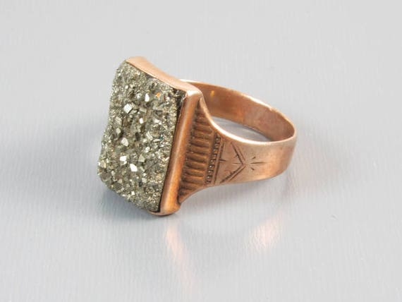 Gents antique Victorian 10k rose gold pyrite druzy ring, size 11, gold rush, fools gold, souvenir, pink gold, mens ring, mans ring, druse