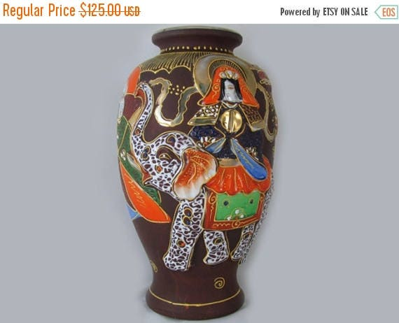 SPRING CLEANING SALE Large vintage hand painted Elephant and dragon Japanese Satsuma urn vase ceramic / pottery / Asian / Oriental / Japan /