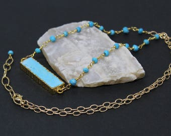 Turquoise Gemstone . Sterling Silver Vermeil Pendant Necklace . Light Turquoise Aqua Blue . N16092