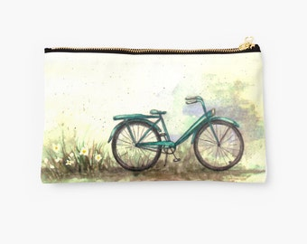 Bike Pouch,Turquoise Vintage Bike Clutch, Travel Makeup Case, Zipper Pouch, Jewelry Case
