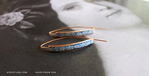 "Threader Earrings with Portugal  Antique Azulejo  Border Tile Replicas University of Evora - Hidden Treasure - Delicate 2"""