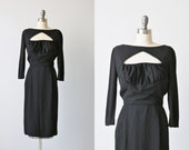 Vintage 1960s Black Formal Cocktail Dress / Little Black Dress / Don Loper Originals