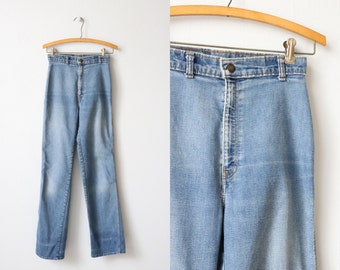 Vintage 1970's High Waisted Levis Jeans/ Orange Leather Tab Levis / Light Wash /  70s Levis / 1970s Denim Levi Strauss and Co