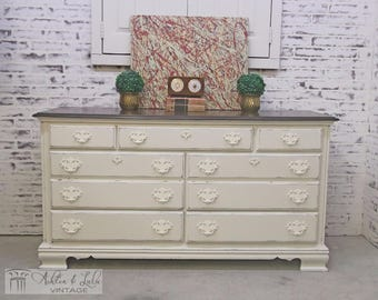 Double Dresser, White Cottage Style - Chic DR403 Shabby Farmhouse Chic, Dresser, Nursery Furniture