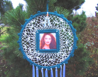 Personal Dreamcatcher. Any occasion, picture, handmade, crochet, doily, colorful, unique, home, gift, ribbon, wood beads, men, women.