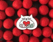 All One hugging cat enamel pin, white cat pin, cute cat pin, charity pin, lapel pin badge, kitty love, political pin, HibouDesigns