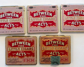 5 Vintage BETWEEN The ACTS Little Cigars Tins Lorillard USA Tobacco Empty Collectibles Tobacciana Assemblage Altered Art