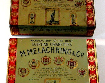 2 Vintage MELACHRINO EGYPTIAN Cigarette TINS Empty Grand Depots Tobacco No 9 Tobacciana Collectibles Assemblage Altered Art